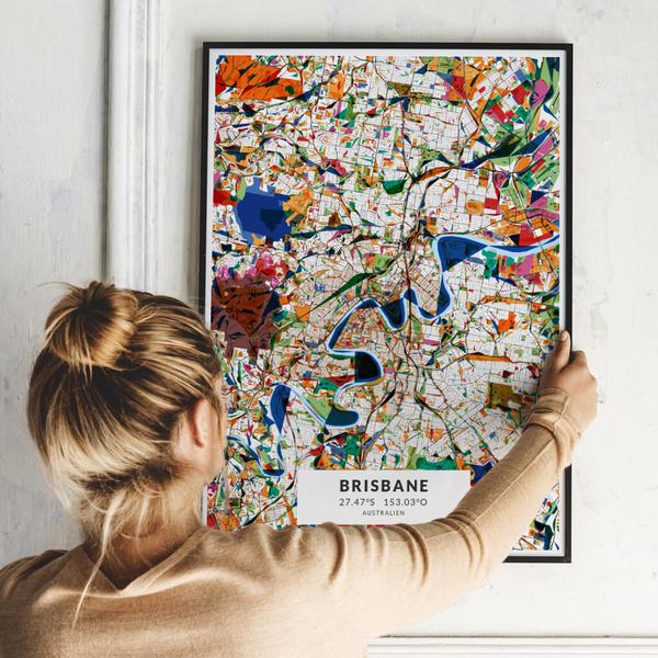 City-Map Brisbane im Stil Kandinsky