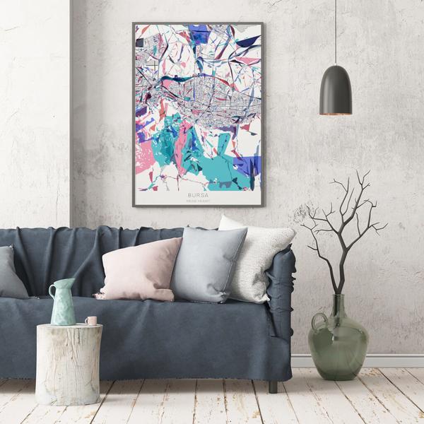 Stadtkarte Bursa im Stil Primavera
