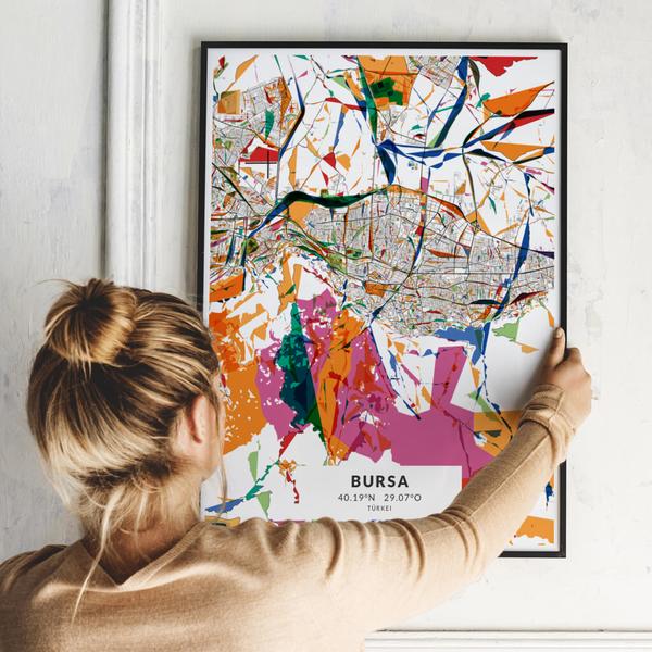 City-Map Bursa im Stil Kandinsky