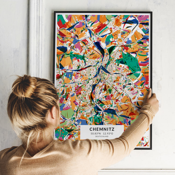 City-Map Chemnitz im Stil Kandinsky