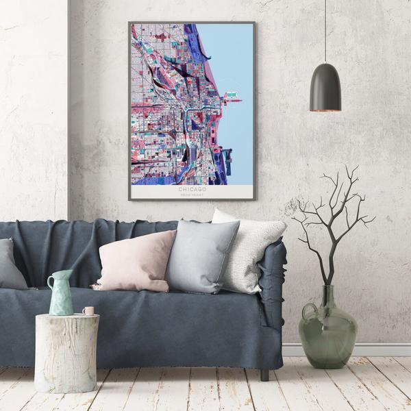 Stadtkarte Chicago im Stil Primavera