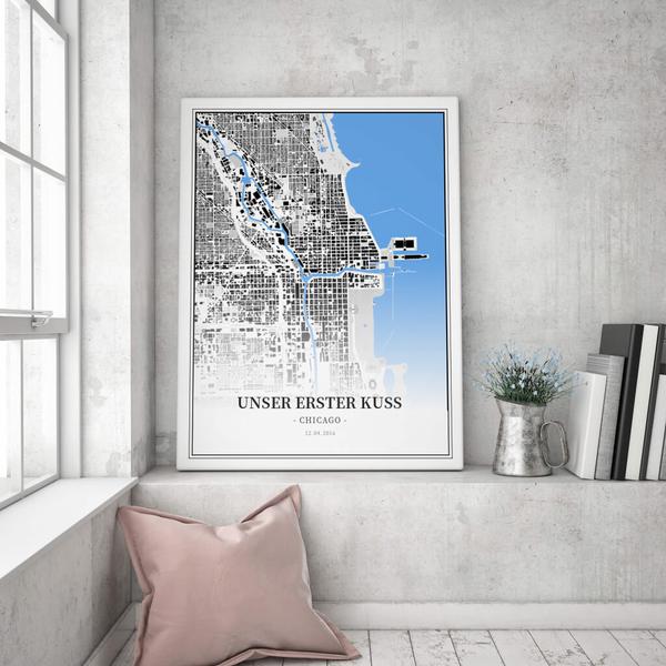 Stadtkarte Chicago im Stil Schwarzplan