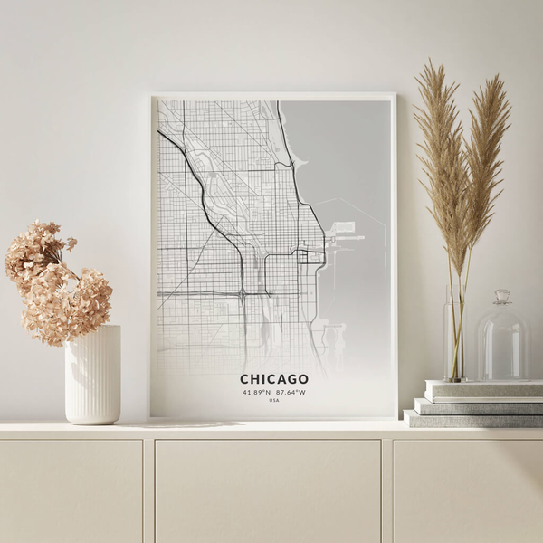 City-Map Chicago im Stil Elegant