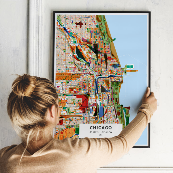 City-Map Chicago im Stil Kandinsky