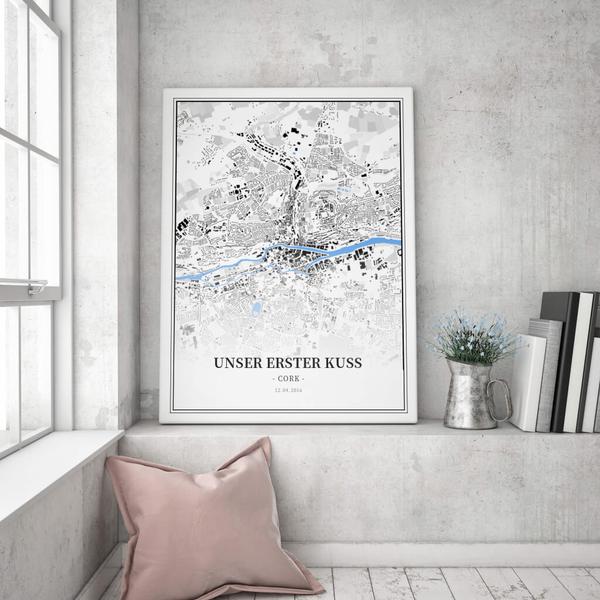 Stadtkarte Cork im Stil Schwarzplan