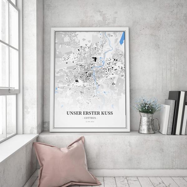 Stadtkarte Cottbus im Stil Schwarzplan