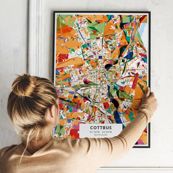 City-Map Cottbus im Stil Kandinsky