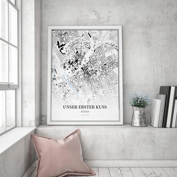 Stadtkarte Düren im Stil Schwarzplan