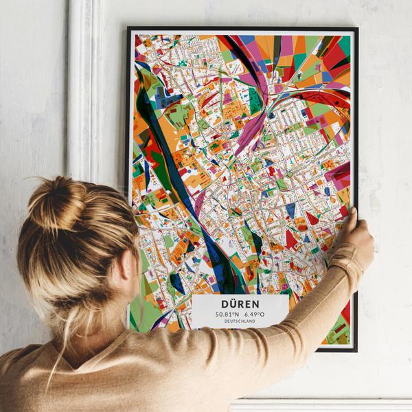City-Map Düren im Stil Kandinsky