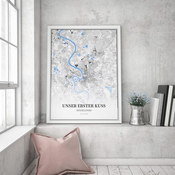 Stadtkarte Düsseldorf im Stil Schwarzplan