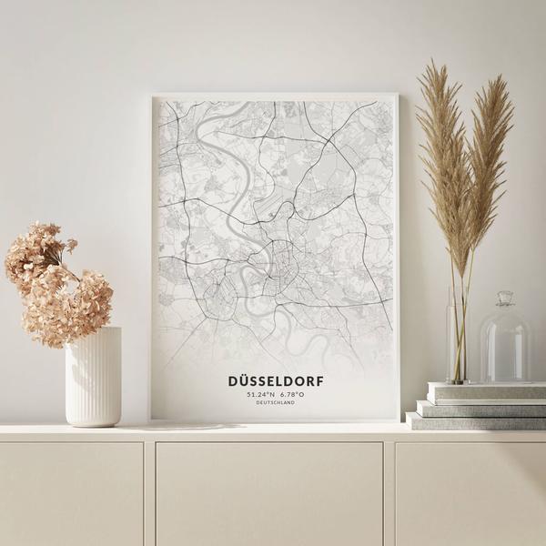 City-Map Düsseldorf im Stil Elegant