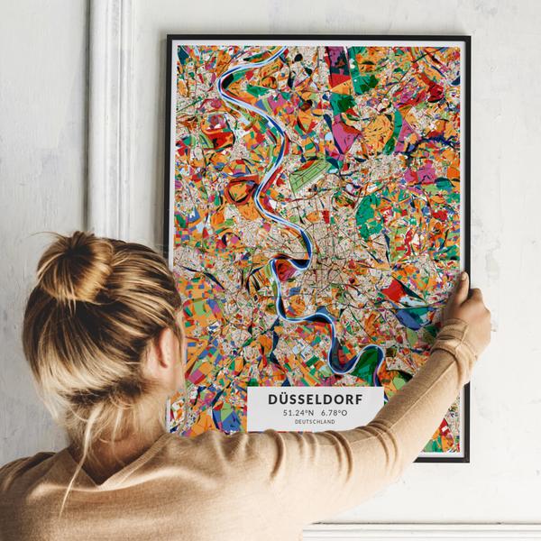 City-Map Düsseldorf im Stil Kandinsky