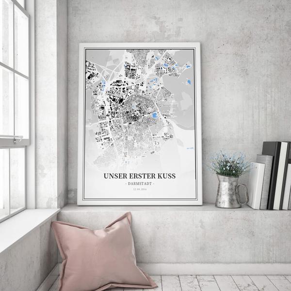 Stadtkarte Darmstadt im Stil Schwarzplan