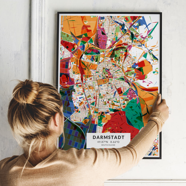 City-Map Darmstadt im Stil Kandinsky