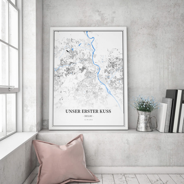 Stadtkarte Delhi im Stil Schwarzplan