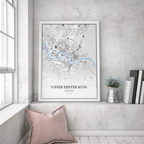 Stadtkarte Dresden im Stil Schwarzplan