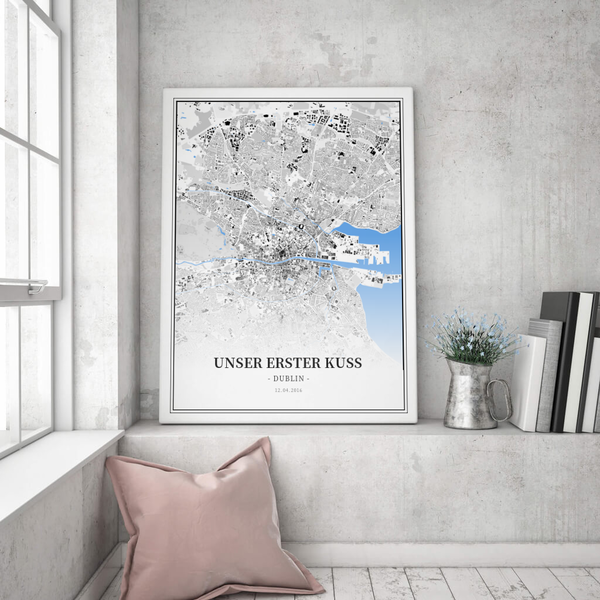 Stadtkarte Dublin im Stil Schwarzplan