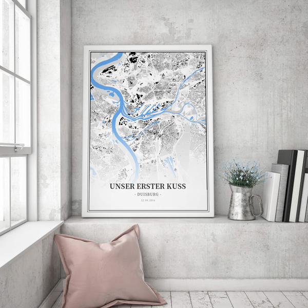 Stadtkarte Duisburg im Stil Schwarzplan