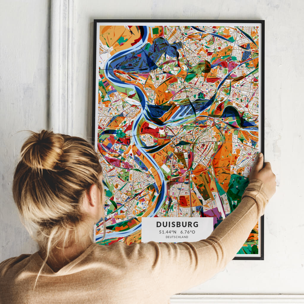 City-Map Duisburg im Stil Kandinsky