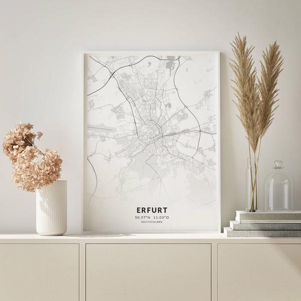 City-Map Erfurt im Stil Elegant