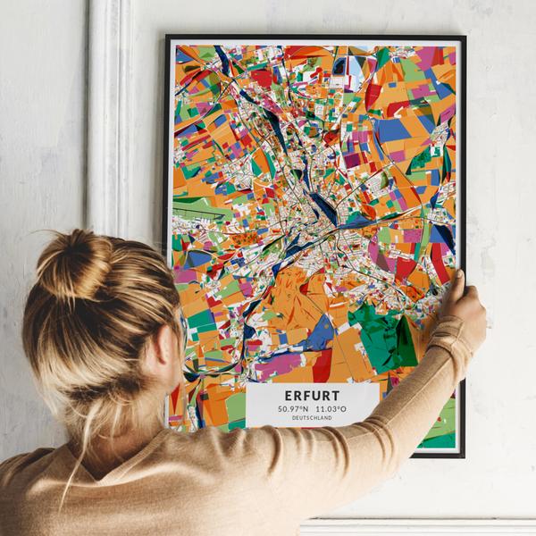City-Map Erfurt im Stil Kandinsky