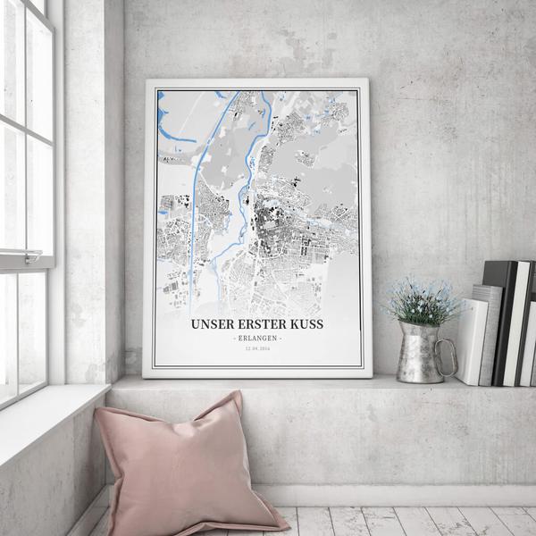 Stadtkarte Erlangen im Stil Schwarzplan