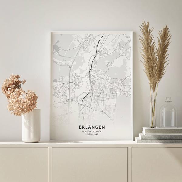 City-Map Erlangen im Stil Elegant