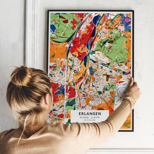 City-Map Erlangen im Stil Kandinsky