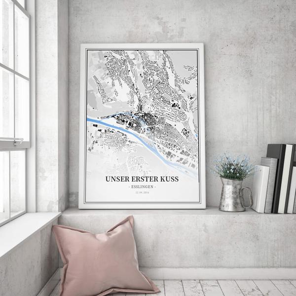 Stadtkarte Esslingen im Stil Schwarzplan