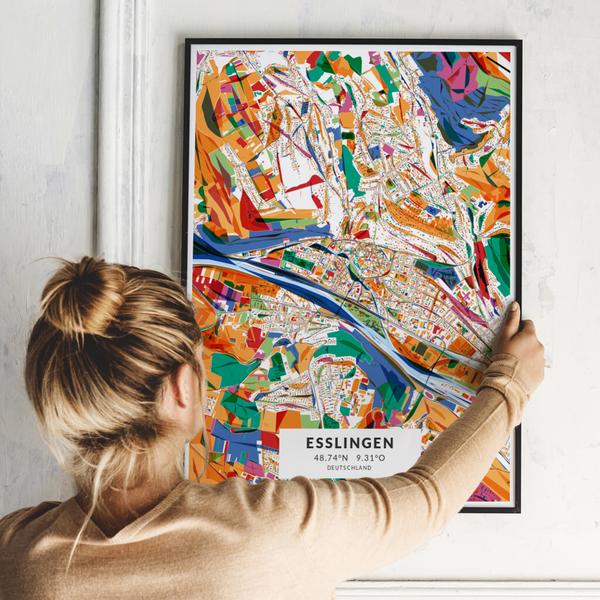 City-Map Esslingen im Stil Kandinsky