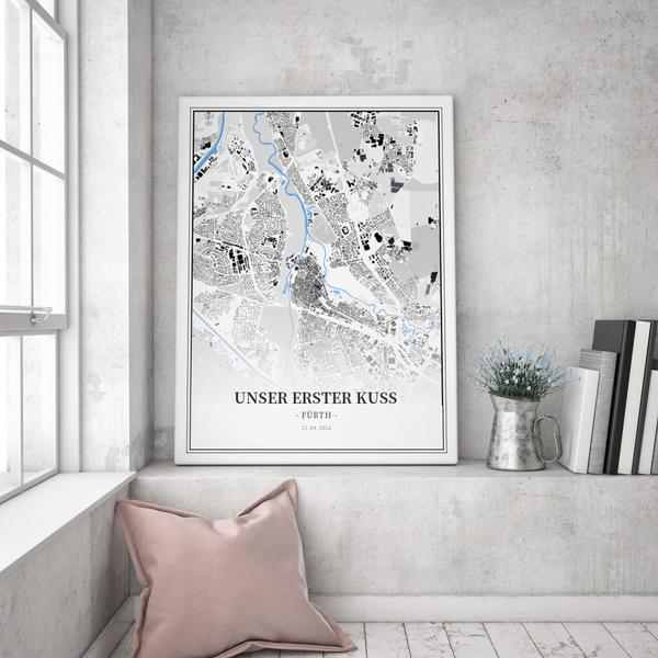 Stadtkarte Fürth im Stil Schwarzplan