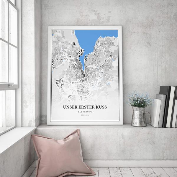 Stadtkarte Flensburg im Stil Schwarzplan