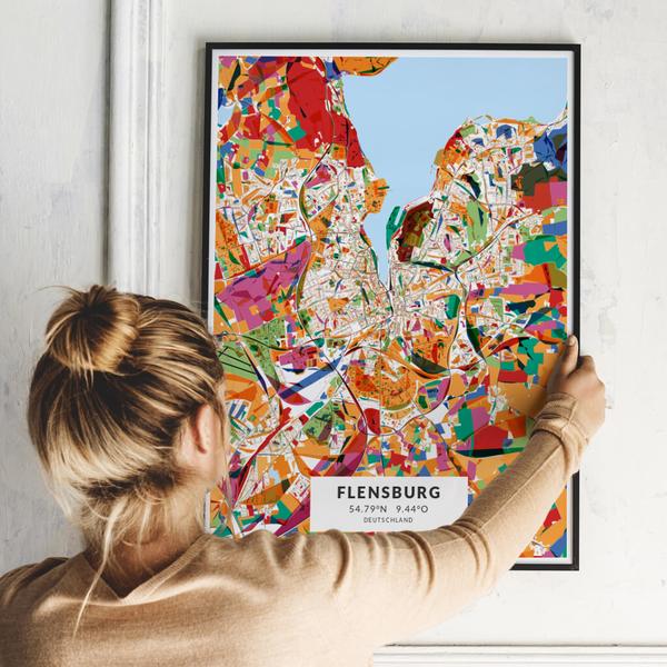 City-Map Flensburg im Stil Kandinsky