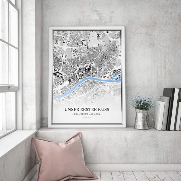 Stadtkarte Frankfurt Am Main im Stil Schwarzplan