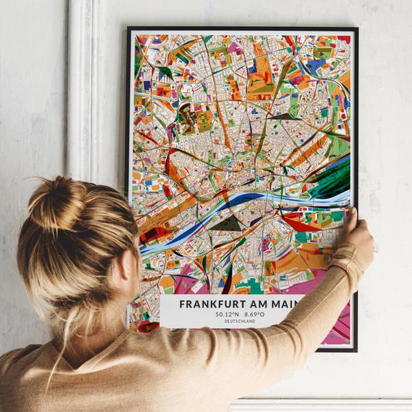 City-Map Frankfurt Am Main im Stil Kandinsky