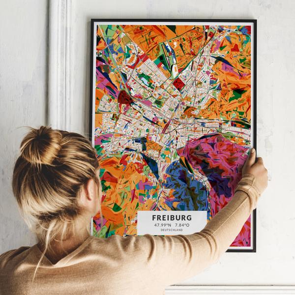 City-Map Freiburg im Stil Kandinsky