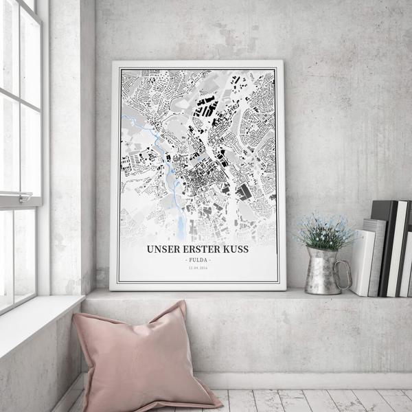 Stadtkarte Fulda im Stil Schwarzplan