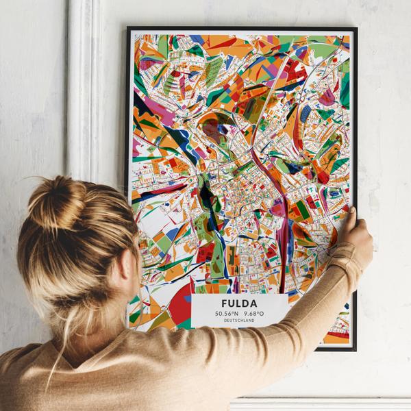 City-Map Fulda im Stil Kandinsky