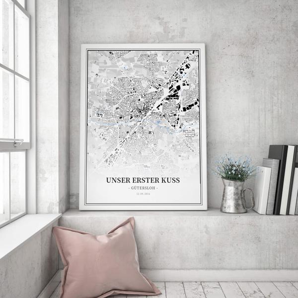 Stadtkarte Gütersloh im Stil Schwarzplan