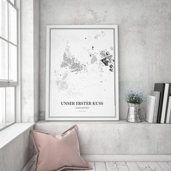 Stadtkarte Gaziantep im Stil Schwarzplan