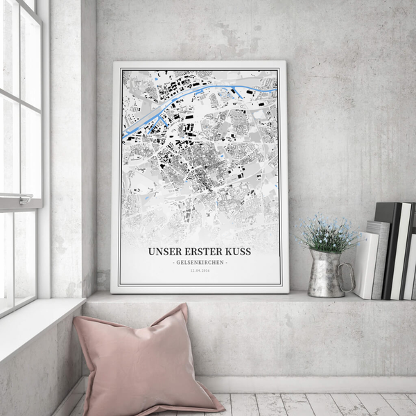 Stadtkarte Gelsenkirchen im Stil Schwarzplan