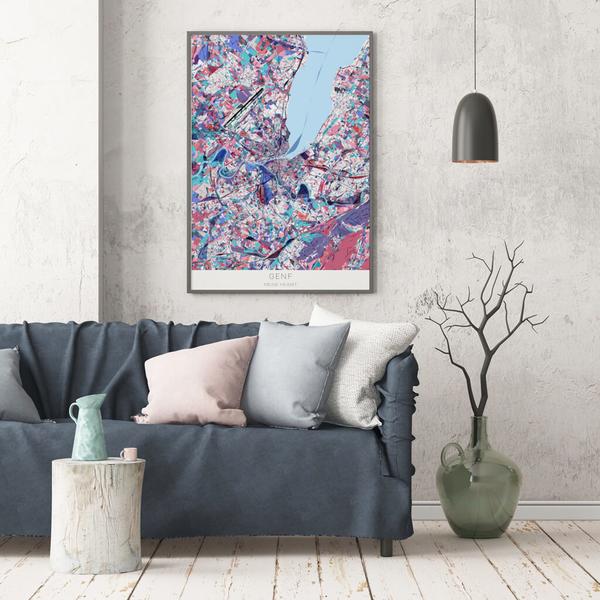 Stadtkarte Genf im Stil Primavera