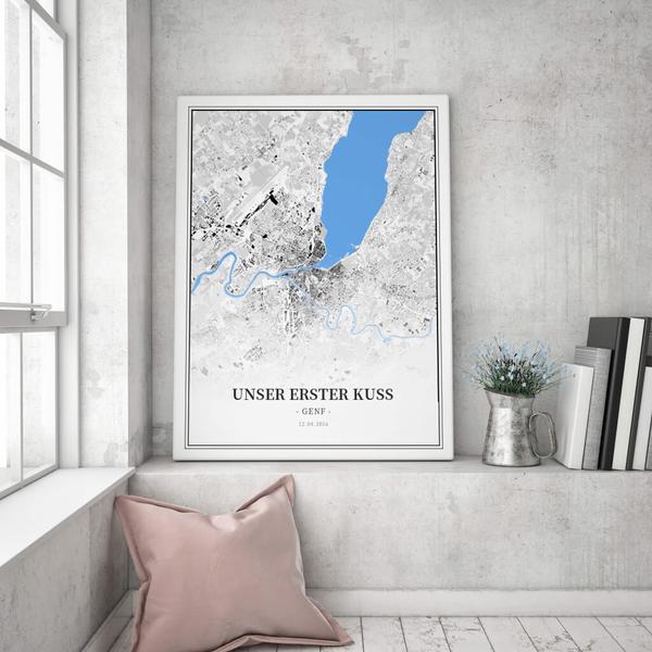 Stadtkarte Genf im Stil Schwarzplan