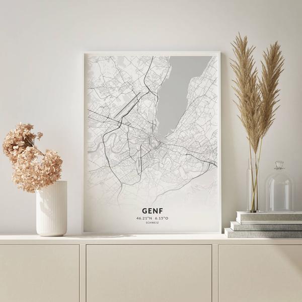 City-Map Genf im Stil Elegant