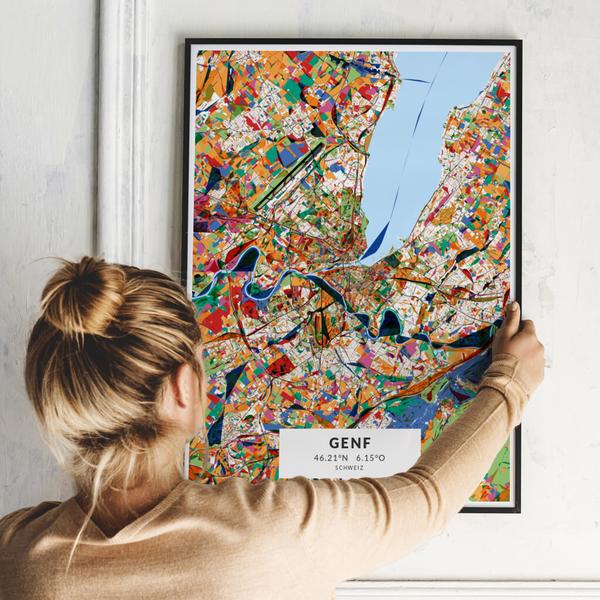 City-Map Genf im Stil Kandinsky
