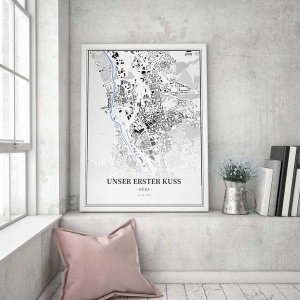 Stadtkarte Gera im Stil Schwarzplan