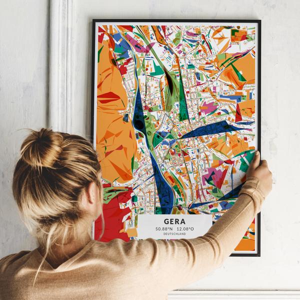 City-Map Gera im Stil Kandinsky