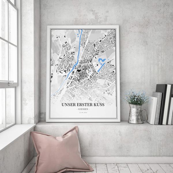 Stadtkarte Gießen im Stil Schwarzplan