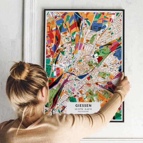 City-Map Gießen im Stil Kandinsky