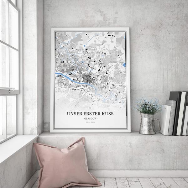 Stadtkarte Glasgow im Stil Schwarzplan